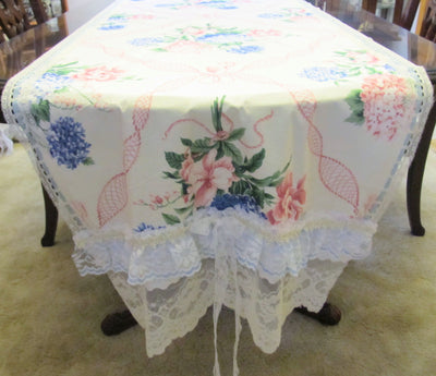 Hydrangea Bouquet Floral Table Runner Tablecloth - OOAK - Vintage Style Shabby 30