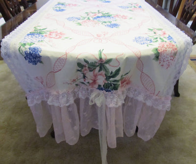 Hydrangea Bouquet Floral Table Runner Tablecloth - Special Occasion - OOAK - Vintage Style Shabby 34