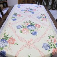 "Hydrangea Bouquet Floral Table Runner Tablecloth - Special Occasion - OOAK - Vintage Style Shabby 34"" x 102"""