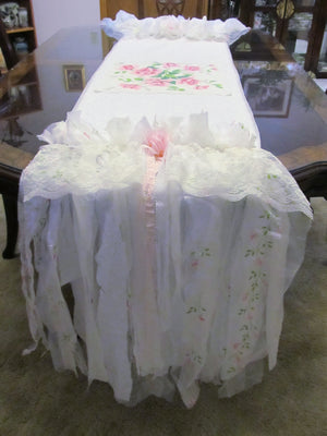 Shabby Pink Roses Table Runner Tablecloth - OOAK - Vintage Style Fringe 19
