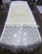 "Ivory and White Lace Table Runner Tablecloth - Tattered Special Occasion - OOAK - Vintage Style 23"" x 80"""