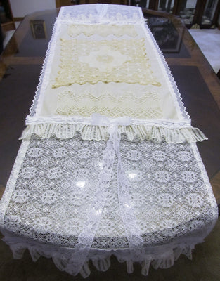 Ivory and White Lace Table Runner Tablecloth - Tattered Special Occasion - OOAK - Vintage Style 23