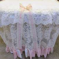 "Shabby Pink Roses and Lace Table Runner Tablecloth - OOAK - Vintage Style 37"" x 116"""