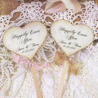 Personalized Wedding Heart Cupcake Toppers - Rustic Vintage Style