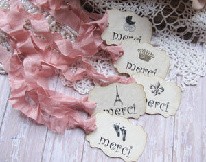 French Bebe Baby Shower Decorations - Banner - Cupcake Toppers - Favor Tags Bags - Straws - Paris Shower Favor Bonjour Bebe Eiffel Fleur