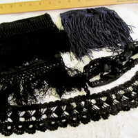 Vintage Antique Black Fringe Crochet & Lace Salvaged Trim - Victorian Black Costume Cosplay Steampunk Lace