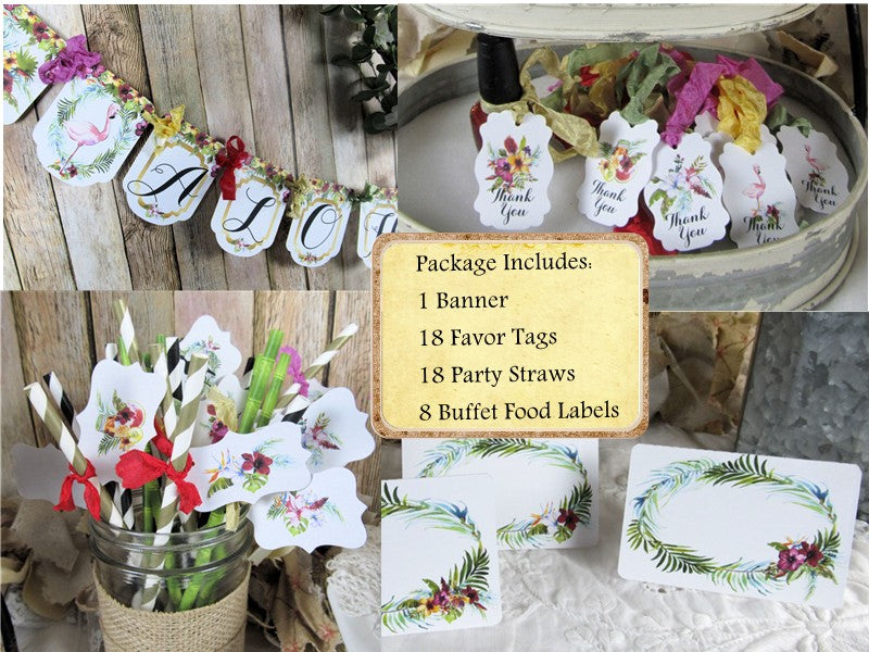 Aloha Tropical Watercolor Floral Flamingo Bridal Shower Decorations Package