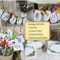 Aloha Tropical Watercolor Floral Flamingo Baby Shower Decorations Package
