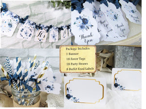 It's a Boy Floral Baby Shower Decorations Package - Banner Garland Bunting - Cupcake Toppers - Favor Bags & Tags- Floral Picks- Chair Signs