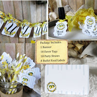 Lemon Watercolor Floral Bridal Shower Decorations Bride to Be Package