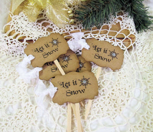Christmas Cupcake Toppers with ribbons - Set of 18 - Let it Snow - Christmas Holiday Wedding Party Food Picks