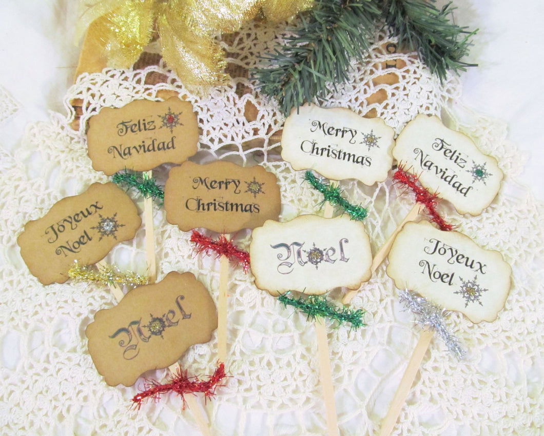 Christmas Cupcake Toppers with tinsel ribbons - Set of 18 - Merry Christmas Feliz Navidad Happy Holidays Joyeux Noel Party Food Picks