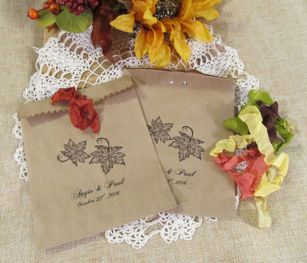 Autumn Leaf Kraft Favor Bag with Ribbons - Fall Wedding Treat Bag - Set of 10  - Personalized Customized Rustic