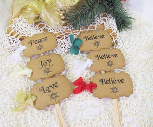 Christmas Cupcake Toppers with ribbons - Set of 18 - Peace Love Joy Believe - Christmas Holiday Wedding Party Food Picks