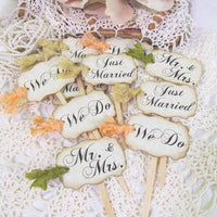 Wedding Cupcake Toppers Party Picks - Rustic Vintage Shabby Style Bridal Mix - Just Married We Do Mr. & Mrs.