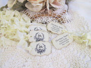 Wedding Place Name Seating Cards Parchment Table Tent Buffet - French Wreath with Doves - Blank w/ribbon bows - Set of 8 - Bridal Shower