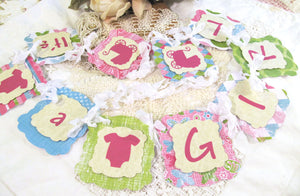 Baby Shower Banner It's a Girl Garland Bunting - Ready to Ship - Sprinkle - Pink Green - Baby Shower Bright Colors