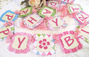 Happy Birthday Banner w/ribbons - Ready to Ship - Pink Green Garland Bunting - Girl Teen Tween Birthday Decorations Pastel