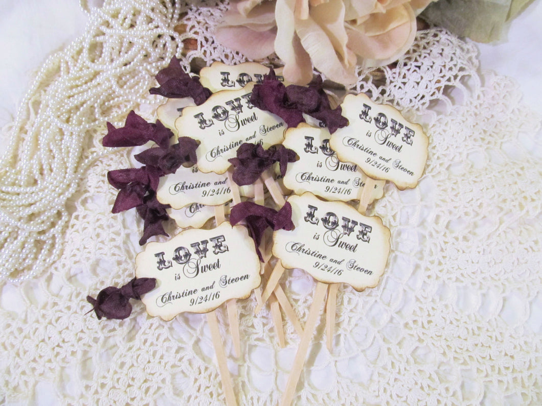 Wedding Cupcake Toppers Party Picks - Love is Sweet - Personalized  - Set of 18 - Choose Ribbons - Rustic Vintage Shabby Style Ivory Linen