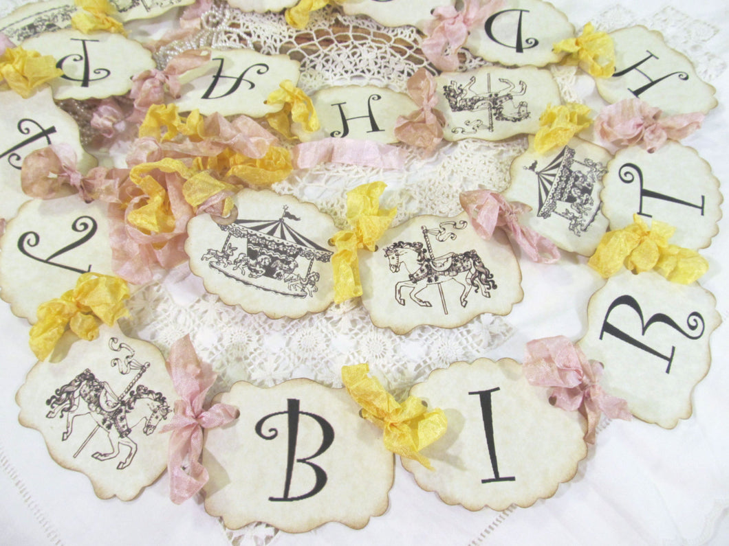 Carousel Horse Banner Happy Birthday Party Garland - Choose Ribbons - Small Medium Large - Birthday Baby Circus Carnival Happy Birthday
