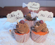 Just Married Cupcake Toppers Wedding Picks - Bridal Mix w/Lace - Just Married We Do Mr. & Mrs. - Qty 12 - Rustic Vintage Shabby Style
