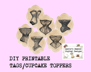 Vintage Corset Cupcake Toppers Tags - Printable Digital Download DIY - Lingerie Party Bachelorette Bridal Shower