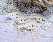 Wedding MINI Cupcake Toppers Party Picks - i do - Set of 24 - Ivory or White Lace - Vintage Rustic Shabby Style Wedding Small flags picks