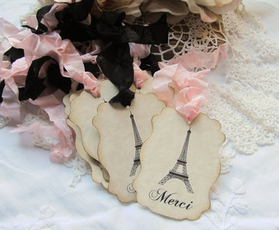 Eiffel Large Merci Favor Gift Tags