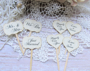 Wedding MINI Cupcake Toppers Heart Party Picks - Set of 24 -  Vintage Rustic Shabby Style Wedding Small flags picks