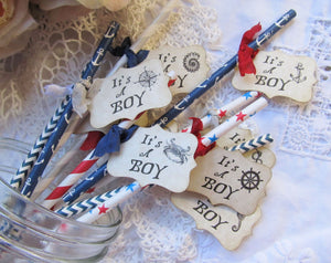 Nautical Baby Boy Shower Party Straws w/flags - Choose Straw & Ribbons - Set of 18- its a boy sprinkle shower favor anchor sea creatures