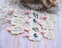 Baby Shower Cupcake Toppers It's a Girl Party Picks -  Mix Set of 18