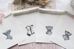 Lingerie Favor Bags Vintage Corsets with ribbons - Set of 10 - Bridal Shower Gift Bachelorette Party