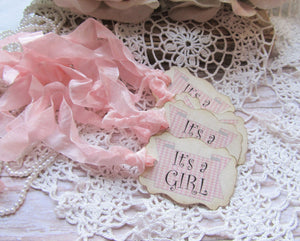Baby Shower Gingham Favor Tags - Ready to ship - It's a Girl or It's a Boy - Set of 11 - gender reveal baby shower prize tags