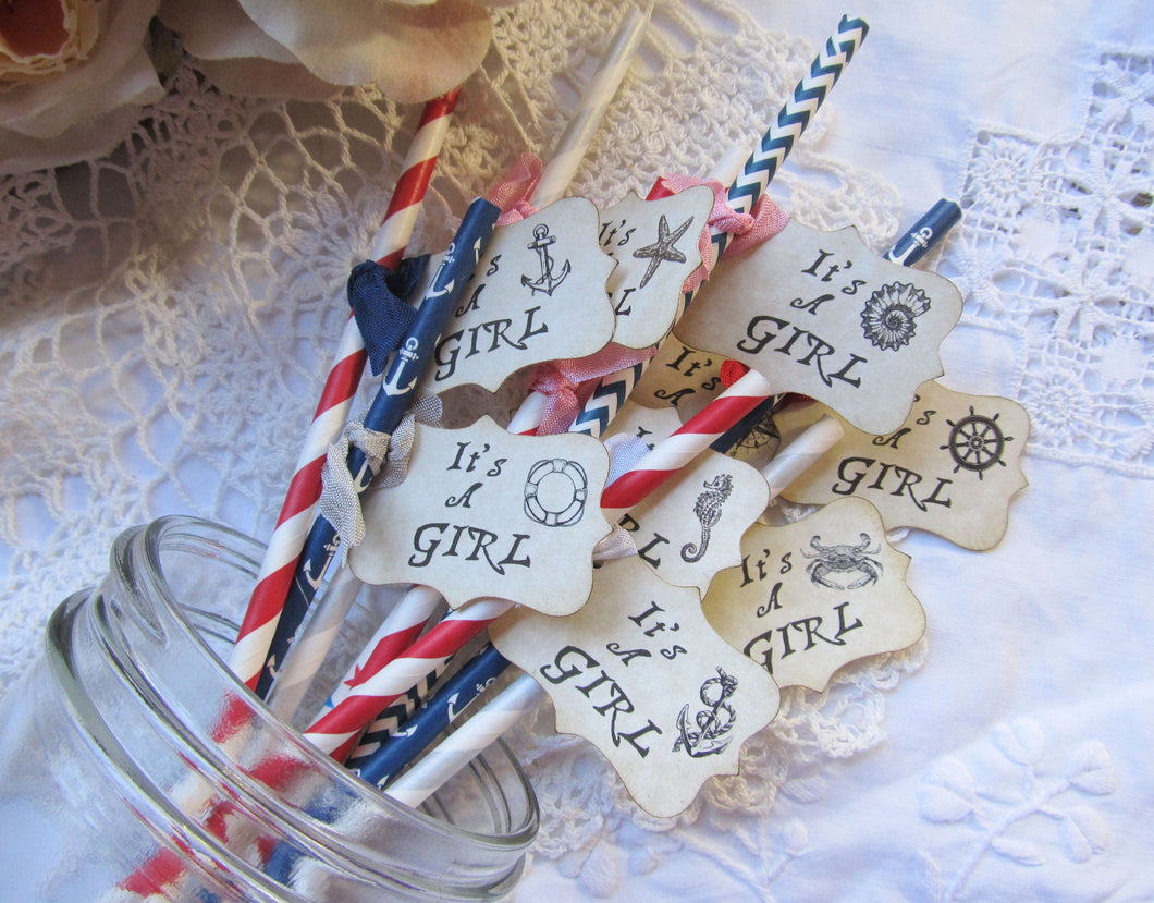 Nautical Baby Girl Shower Party Straws w/flags - Choose Straw & Ribbons - Set of 18- its a girl sprinkle shower favor anchor sea creatures