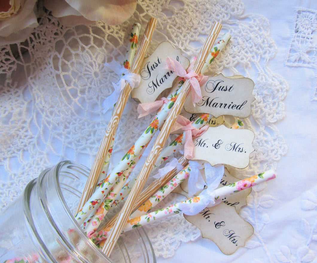 Wedding Floral Favor Party Straws w/Flags - Choose Straws and Ribbons -Set of 18- Just Married Mr.& Mrs. Wedding Favor