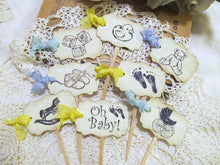 Baby Shower Parchment Escort Buffet Food Tents Placecards - Teddy Bear Blank - Set of 8 - Baby Shower Sprinkle Gender Reveal vintage style