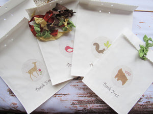 Woodland Forest Animals Favor Small Organza Mini Lavender Sachet with Tags- Set of 10 - Baby Shower Birthday Favor