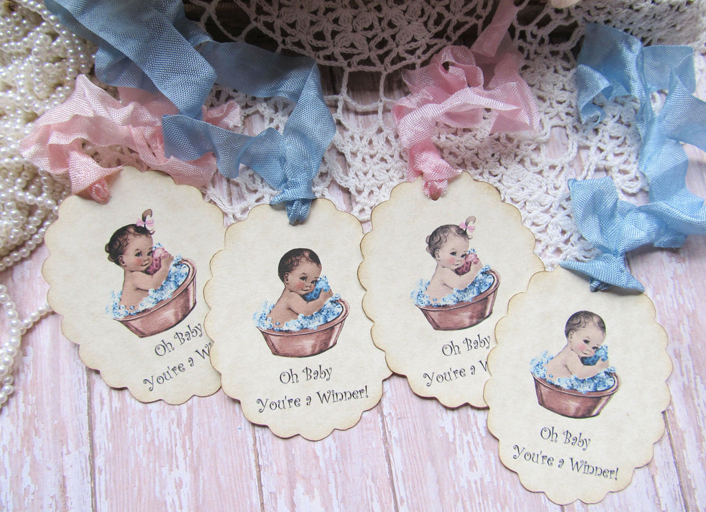 Vintage Baby in Washtub Shower Prize Tags - Oh Baby You're a Winner  - Set of 9