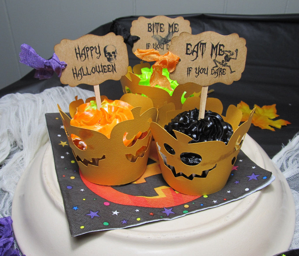 12 Halloween Cupcake Toppers - Kraft Eat Me Bite Me Trick or Treat If You Dare