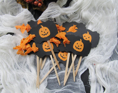 12 Halloween Cupcake Toppers - Pumpkin Jack o Lantern Party Picks
