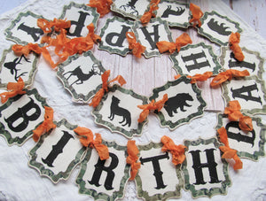 "Camo Birthday Banner Garland - 84"" x 4.25"" - Ready to Ship - Happy Birthday Forest Woodland Hunting Dad Birthday Sign"