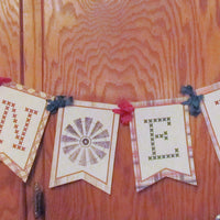 Country Rustic Christmas Banner Garland Sign - Let it Snow - Noel - Joy - Christmas Party Decorations Cupcake Toppers Paper Straws