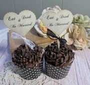 12 Wedding Hearts Cupcake Toppers w/ribbons & Lace -  Eat Drink Be Married
