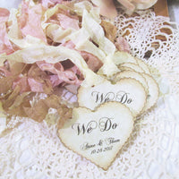 Personalized Wedding Favor Gift Heart Tags - Rustic Vintage Style