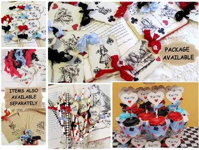 Alice Party Decorations - Playing Card Banner- Cupcake Toppers - Favor Bags - Favor Tags - Invitations - Party Straws Tea Party Mad Hatter