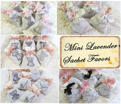 French Lingerie Bridal Shower Lavender Sachet Favors