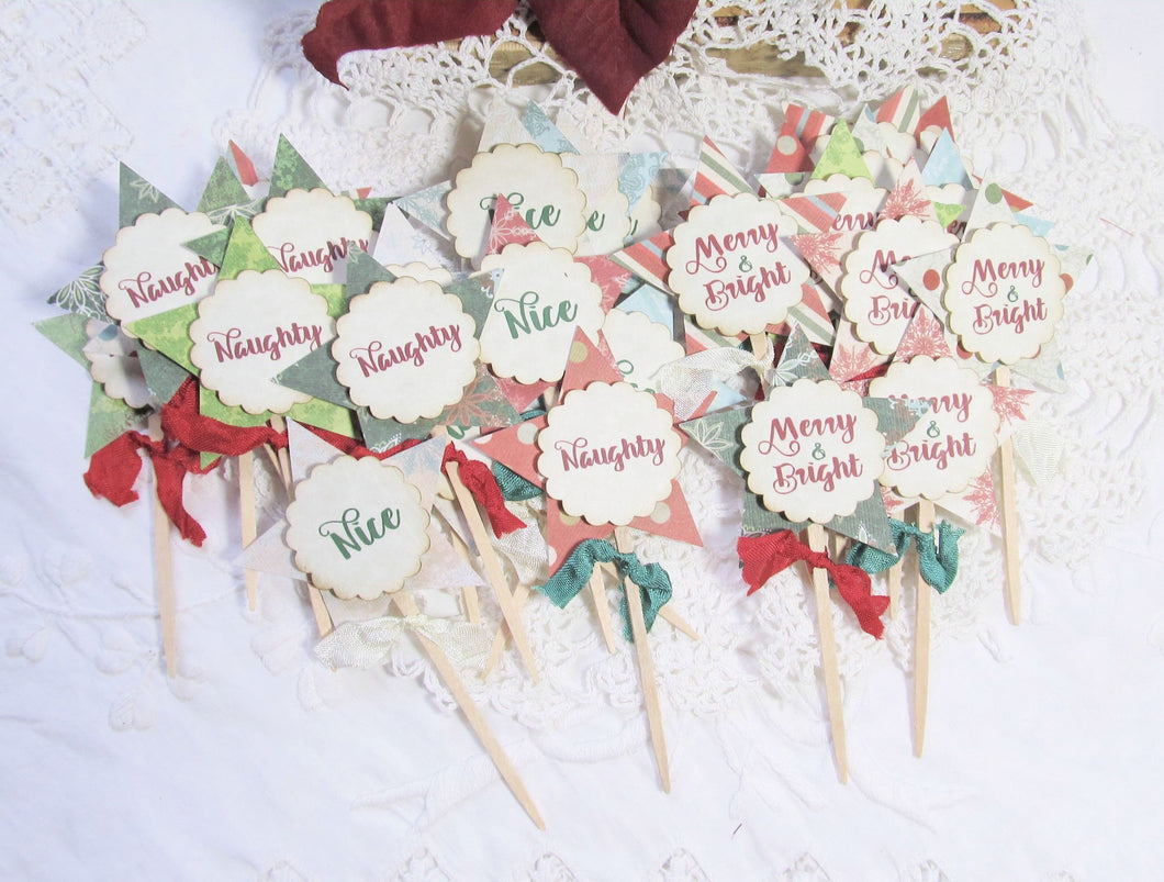 Christmas Star Cupcake Toppers Party Picks with Ribbons - Qty 18 READY TO SHIP - Merry & Bright Naughty Nice