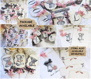 Lingerie Shower Decorations - Corset Banner Garland - Cupcake Toppers - Favor Bags - Favor Tags - Centerpiece Bridal Bachelorette Party