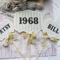Happy Anniversary Decorations - 25th 40th 50th 60th - Vintage Style