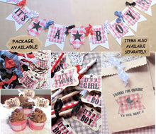 Baby Barbeque BBQ Shower Decorations - Banner - Cupcake Toppers - Favor Tags - Favor Bags - It's a Boy Girl Twins - Baby Q Backyard Rustic